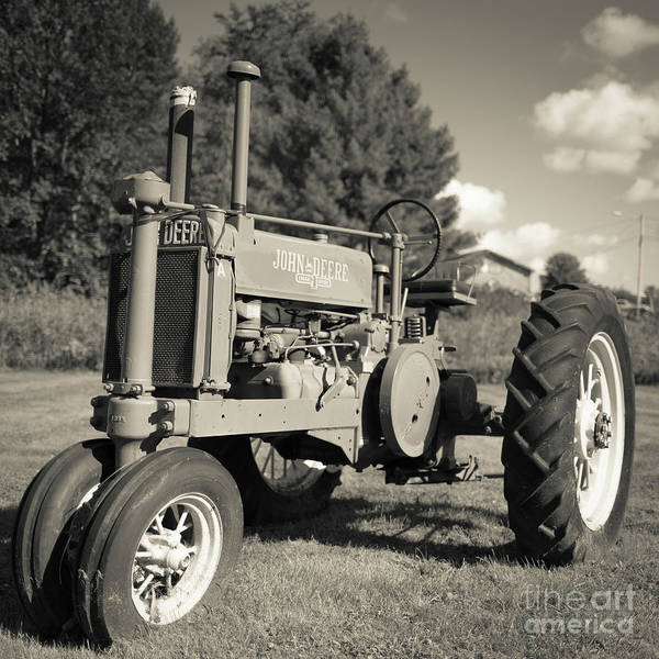 Photograph - Classic Old Tractor Stowe Vermont Square by Edward Fielding