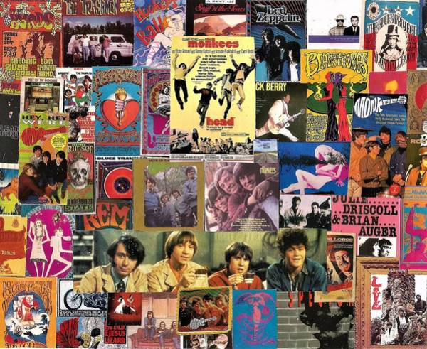 Black Crowes Wall Art - Digital Art - Classic Pop Rock Collage Featuring The Monkees by Doug Siegel