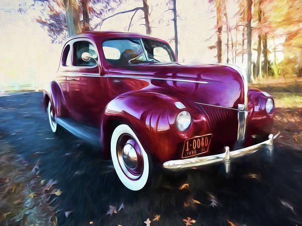 Digital Art - Classic Red Car 1940 by Rick Wicker