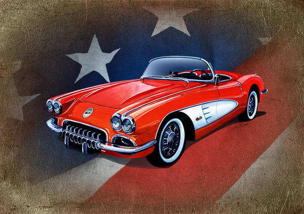 1968 Mixed Media - Classic Red Corvette C1 by Simon Read