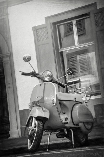 Wall Art - Photograph - Classic Scooter Basel Switzerland In Black And White  by Carol Japp