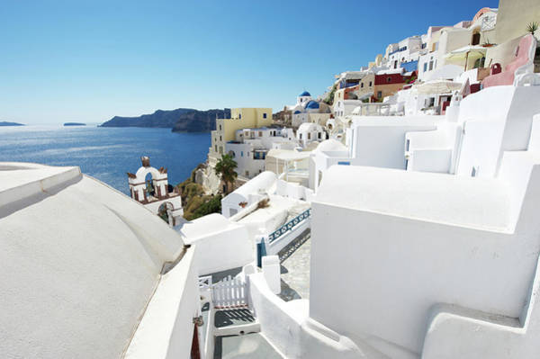 Village Gate Photograph - Classic View Of Whitewashed Oia Village by Peskymonkey