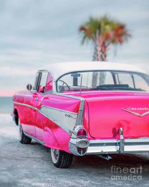 Wall Art - Photograph - Classic Vintage Pink Chevy Bel Air 8x10 by Edward Fielding