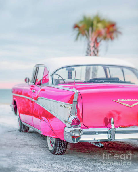 Photograph - Classic Vintage Pink Chevy Bel Air  8x10 Scene by Edward Fielding