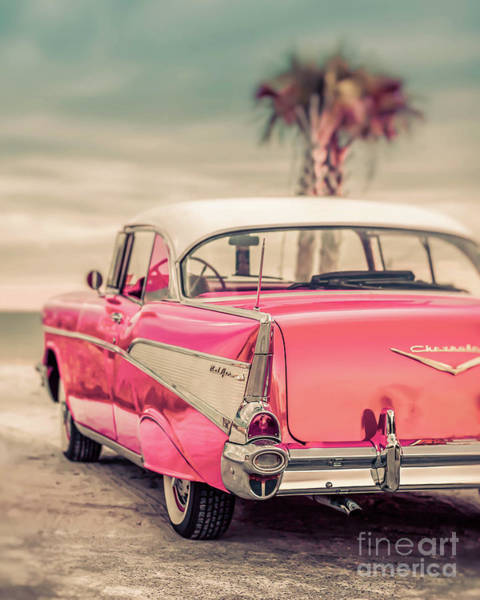 Wall Art - Photograph - Classic Vintage Pink Chevy Bel Air Galaxy500  by Edward Fielding