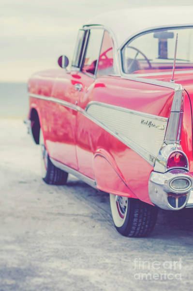 Wall Art - Photograph - Classic Vintage Pink Chevy Bel Air Tumble by Edward Fielding
