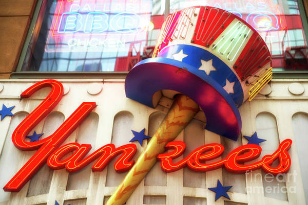 Hats For Sale Photograph - Classic Yankees Neon In Times Square by John Rizzuto
