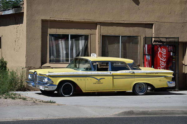 Photograph - Classic Yellow Edsel Taxi In Seligman Route 66 by RicardMN Photography