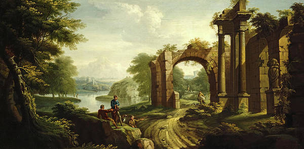 Wall Art - Painting - Classical Landscape With Architecture, 1736 by James Norie senior