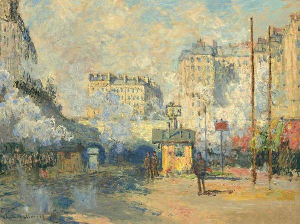 Wall Art - Painting - Claude Monet  1840-1926  Exterior Of Saint-lazare Station, Sun Effect by Celestial Images