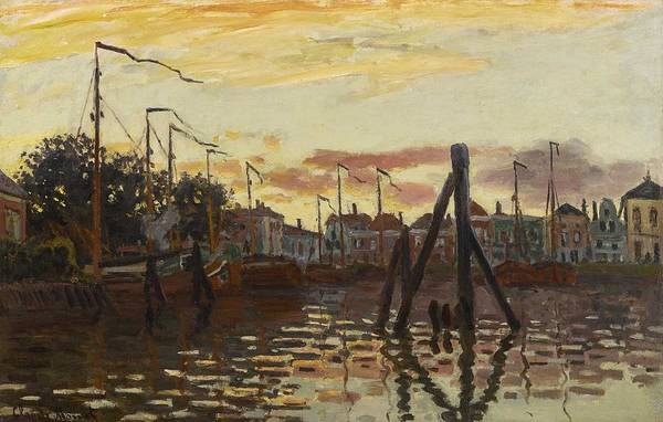 Wall Art - Painting - Claude Monet 1840 - 1926 The Port Of Zaandam by Celestial Images