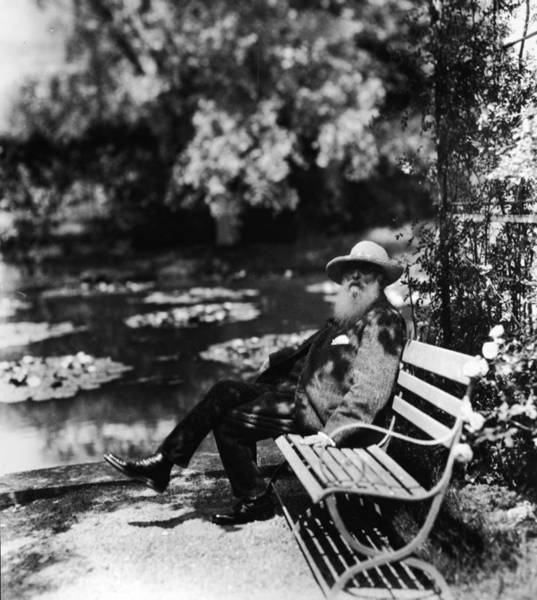 Giverny Photograph - Claude Monet Sitting On Park Bench by Hulton Archive