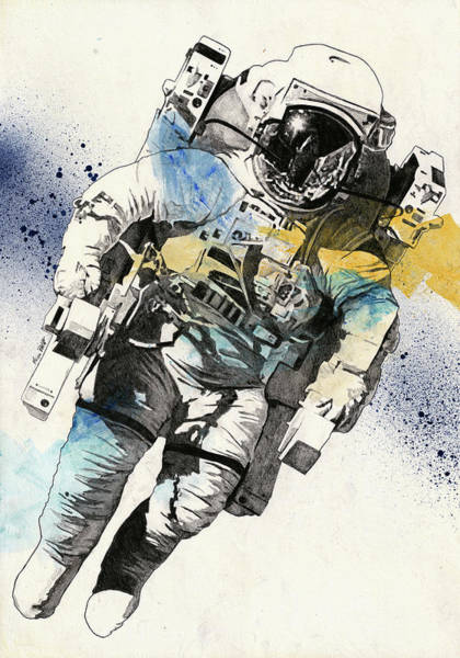 Cosmonaut Wall Art - Drawing - Clavius - Astronaut Alone In The Space by Marco Paludet