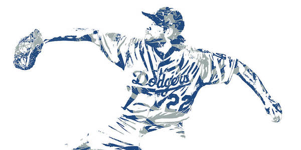Clayton Kershaw Los Angeles Dodgers Pixel Art 50 Art Print