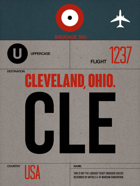 Wall Art - Digital Art - Cle Cleveland Luggage Tag I by Naxart Studio