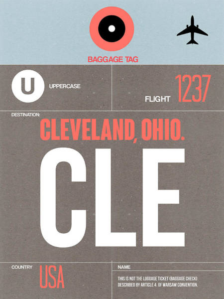 Wall Art - Digital Art - Cle Cleveland Luggage Tag II by Naxart Studio