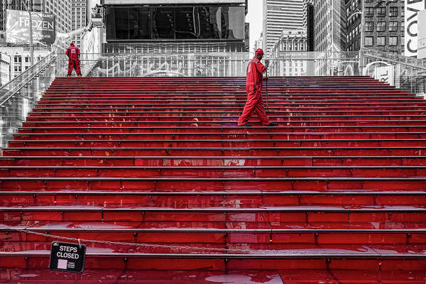 Photograph - Cleaning The Red Steps by Sharon Popek