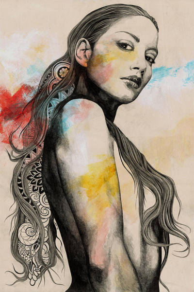 Wall Art - Drawing - Cleansing Undertones - Zentangle Nude Girl Drawing by Marco Paludet