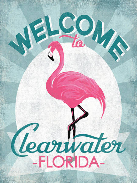 Wall Art - Digital Art - Clearwater Florida Pink Flamingo by Flo Karp