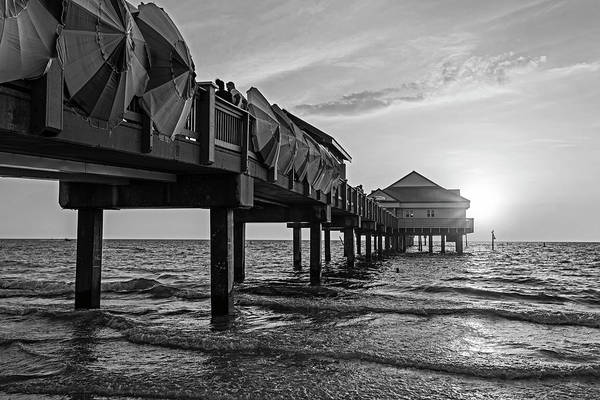 Photograph - Clearwater Florida Sunset At The Pier Fl Black And White by Toby McGuire