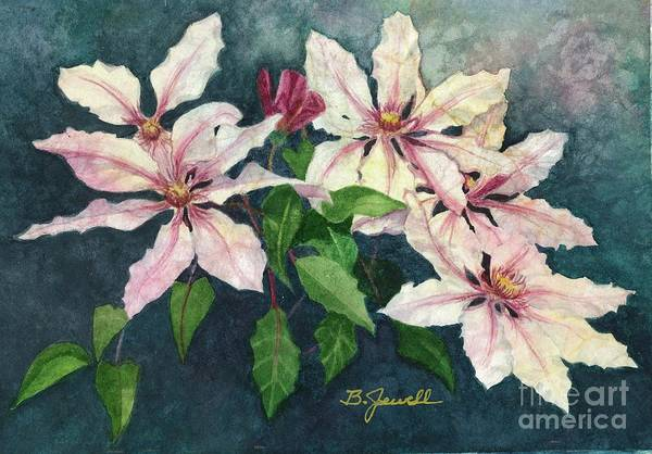 Wall Art - Painting - Clematis Cluster by Barbara Jewell