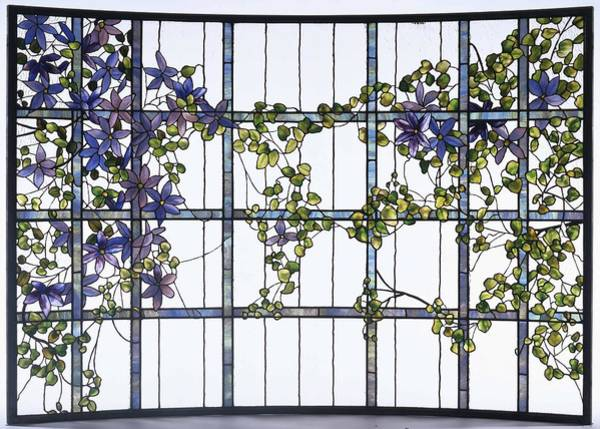 Leaded Glass Painting - Clematis  Leaded Glass Three Sectioned Skylight  Center   by Unknown