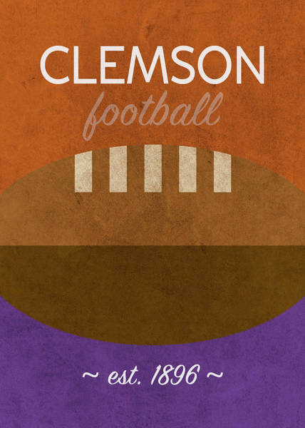 Wall Art - Mixed Media - Clemson Football Minimalist Retro Sports Poster Series 010 by Design Turnpike
