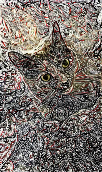 Digital Art - Cleo The Tortoiseshell Cat by Peggy Collins