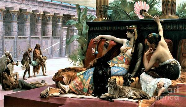 Wall Art - Painting - Cleopatra Testing Poison On Prisoners by Pg Reproductions