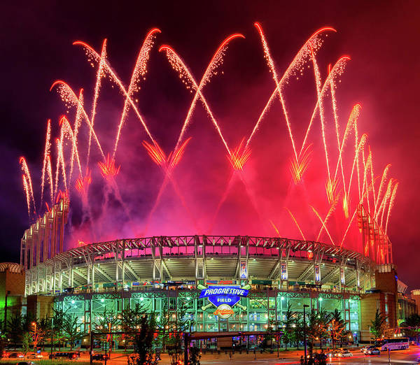 Photograph - Cleveland Indians Fireworks by Richard Kopchock