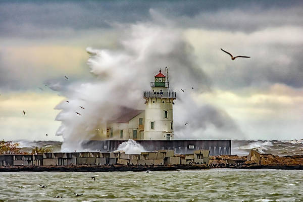 Photograph - Cleveland Lighthouse Storm  by Richard Kopchock