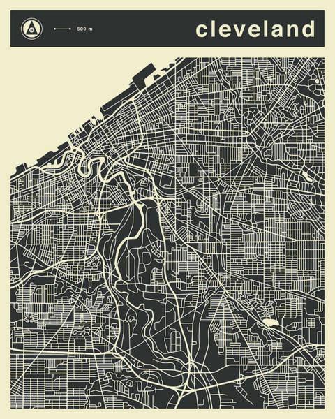 Wall Art - Digital Art - Cleveland Map 3 by Jazzberry Blue