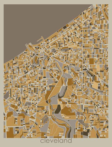 Wall Art - Digital Art - Cleveland Map Retro 4 by Bekim M