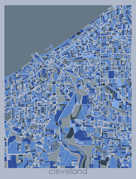 Wall Art - Digital Art - Cleveland Map Retro 5 by Bekim M