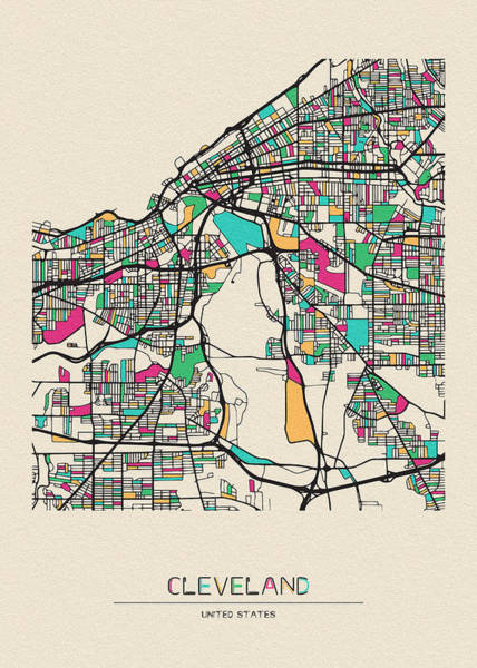 Wall Art - Drawing - Cleveland, Ohio City Map by Inspirowl Design