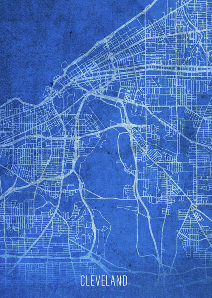 Wall Art - Mixed Media - Cleveland Ohio City Street Map Blueprints by Design Turnpike