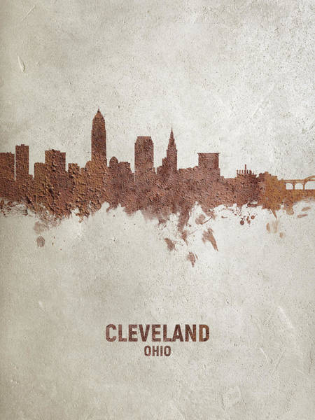 Wall Art - Digital Art - Cleveland Ohio Rust Skyline by Michael Tompsett