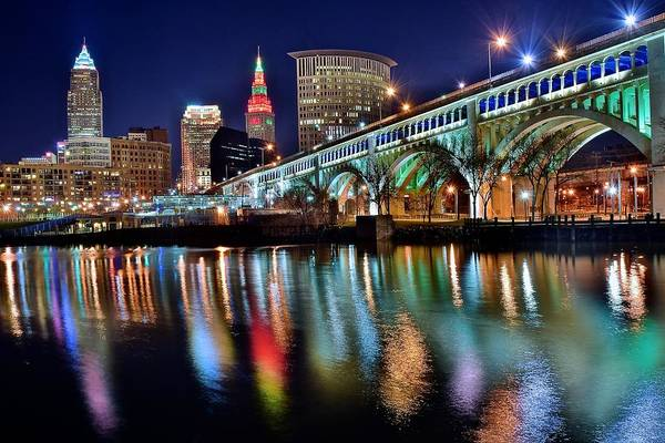 Midwest Photograph - Cleveland Ohio Skyline Reflects Colorfully by Frozen in Time Fine Art Photography