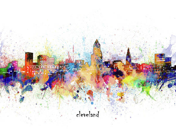 Wall Art - Digital Art - Cleveland Skyline Artistic by Bekim M