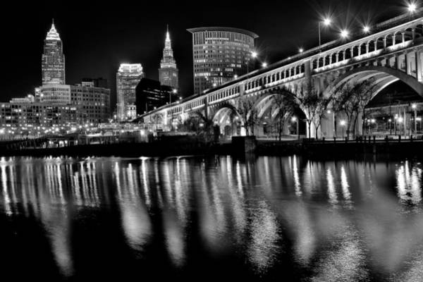 Time Exposure Wall Art - Photograph - Cleveland Skyline by Frozen in Time Fine Art Photography