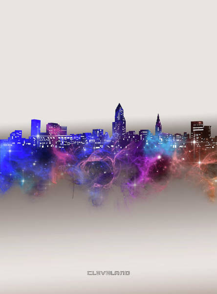 Wall Art - Digital Art - Cleveland Skyline Galaxy by Bekim M