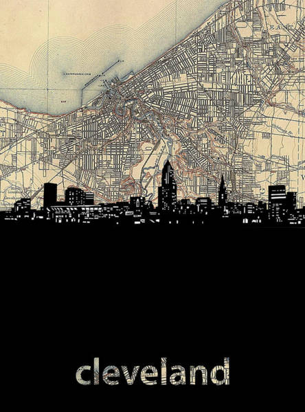 Wall Art - Digital Art - Cleveland Skyline Map by Bekim M