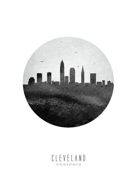 Wall Art - Digital Art - Cleveland Skyline Usohcl04 by Aged Pixel