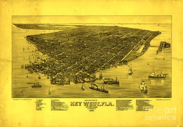 Wall Art - Photograph - Click Map To See Amazing Detail Key West Florida Vintage Map 1884 Golden Yellow by John Stephens