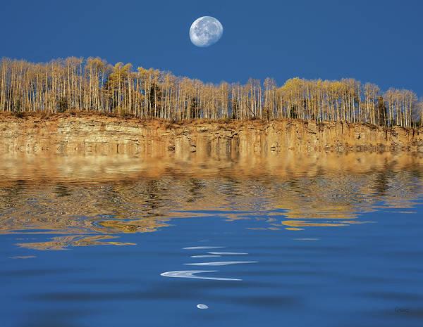 Digital Art - Cliff And Moon Water Reflection by Judi Dressler