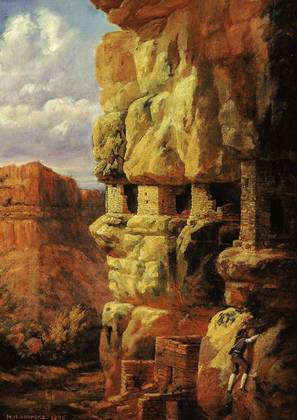 Wall Art - Painting - Cliff Houses On The Rio Mancos, Colorado, 1875 by William Henry Holmes