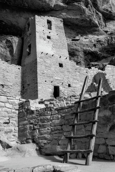 Photograph - Cliff Palace Tower At Mesa Verde National Park - Monochrome  by Gregory Ballos