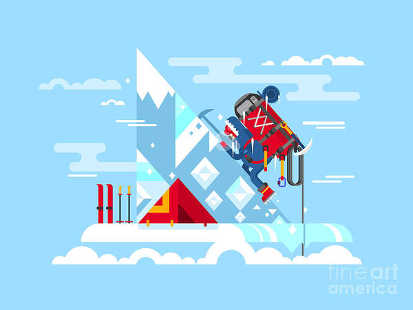 Camp Wall Art - Digital Art - Climber Conquers The Summit. Mountain by Kit8.net