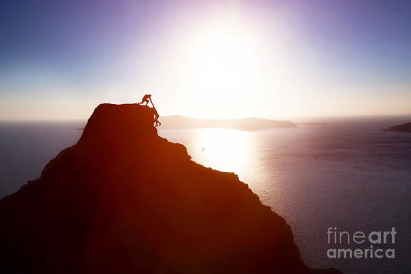 Courage Wall Art - Photograph - Climber Giving Hand And Helping His by Photocreo Michal Bednarek