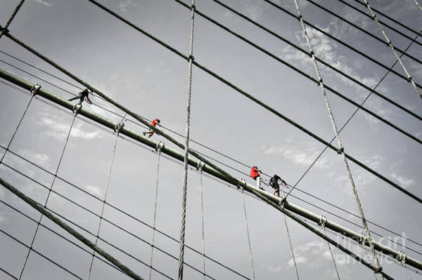 Wall Art - Photograph - Climbers On Brooklyn Bridge by Delphimages Photo Creations